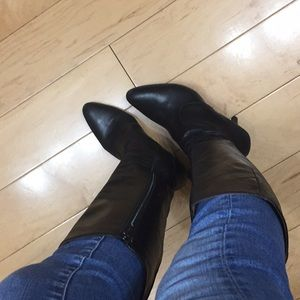 J. Crew black leather long boots 7.5